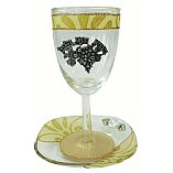 Lily Art Glass Appliqued Kiddush Cup with Coaster in Pearl/Gold
