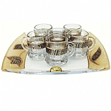 Lily Art 6 Cup Glass Liquor Set and Tray - Brown Tulip Design
