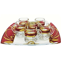 Lily Art 6 Cup Glass Liquor Set and Tray - Burgundy