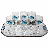 Lily Art 6 Cup Glass Liquor Set and Tray - Ocean Blue
