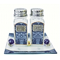 Lily Art Glass Salt and Pepper Shaker Set - Blue