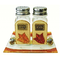 Lily Art Glass Salt and Pepper Shaker Set -  Multicolored Tulip Design