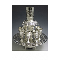 Jerusalem Motifs 8 Cups Silver Plated Kiddush Wine Fountain