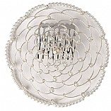 Elegant Woman's Beaded Wire Kippah in White Flower Design