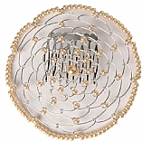Elegant Woman's Beaded Wire Kippah in Off-White Flower Design