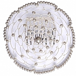 Elegant Woman's Beaded Wire Kippah in Silver Flower Design