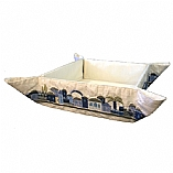 Embroidered Folding Basket / Jerusalem Blue