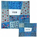 Embroidered Matzah Cover and Afikomen Bag - Blue Patches