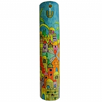 Wooden Large Mezuzah / Jerusalem Yellow