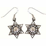 Silver Earrings / Star of David with Pearl