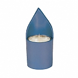 Anodized Blue Aluminum Memorial Candle Holder