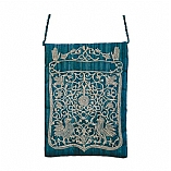 Blue Embroidered Bag in Oriental Design