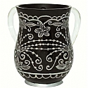 Acrylic Wash Cup Black Floral Design
