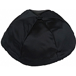 Black Satin Kippah with Button