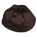 Brown Satin Kippah with Button