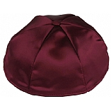 Burgundy Satin Kippah with Button