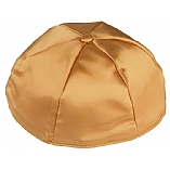 Gold Satin Kippah with Button