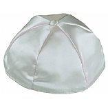 Light Grey Satin Kippah with Button