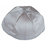 Medium Grey Satin Kippah with Button