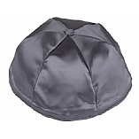 Dark Grey Satin Kippah with Button