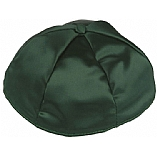 Dark Green Satin Kippah with Button