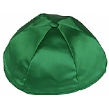 Kelly Green Satin Kippah with Button