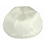 Ivory Satin Kippah with Button