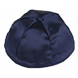 Navy Blue Satin Kippah with Button