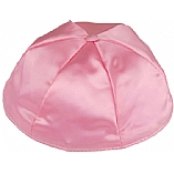Medium Pink Satin Kippah with Button