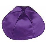 Dark Purple Satin Kippah with Button