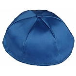 Royal Blue Satin Kippah with Button