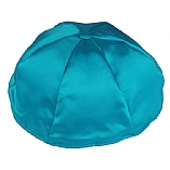 Turquoise Satin Kippah with Button