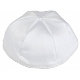 White Satin Kippah with Button