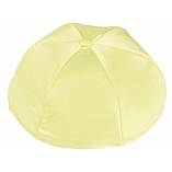 Pale Yellow Satin Kippah with Button