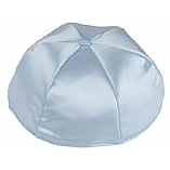 Light Blue Satin Kippah with Button