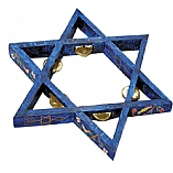 Star of David Painted Wood Tamborine