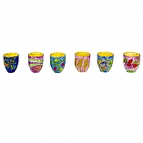 Hand Painted Set of Six Wooden Cups / Seven Species Design