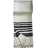 Masoret Wool Blend Black and White Striped Full Size Tallit