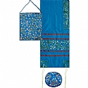 Embroidered Raw Silk Tallit Set in Blue with Tallisack