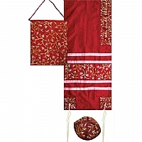 Embroidered Raw Silk Tallit Set in Maroon with Tallisack