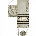 Embroidered Raw Silk Tallit Set in White with Tallisack