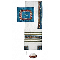Embroidered Raw Silk Tallit Set in Jerusalem White