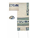 Embroidered Raw Silk Tallit Set with Jewish Symbols in Blue