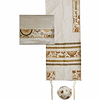 Embroidered Raw Silk Tallit Set with Jewish Symbols in Gold