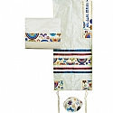 Embroidered Raw Silk Tallit Set with Jewish Symbols in Multi Colors