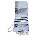 Acrylic (Imitation Wool) Tallit Prayer Shawl in Blue and Gold Stripes