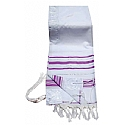 Acrylic (Imitation Wool) Tallit Prayer Shawl in Light Purple and Silver (Lavender) Stripes