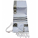 Acrylic (Imitation Wool) Tallit Prayer Shawl in Black and Gold Stripes