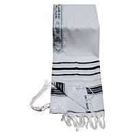 Acrylic (Imitation Wool) Tallit Prayer Shawl in Black and Silver Stripes