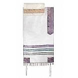 White and Purple Organza Tallit Set